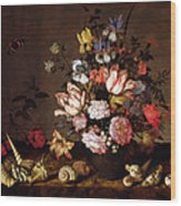 Still Life Of A Vase Of Flowers Wood Print