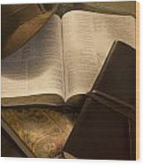 Still Life Of Bible With Hat And Journal Wood Print