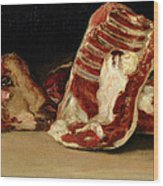 Still Life Of Sheep's Ribs And Head Wood Print by Francisco Jose de Goya y Lucientes
