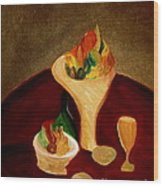 Still Life On A Red Table Wood Print