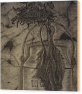 Still Life One Dried Sunflower In Metal Jug Wood Print