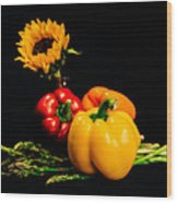 Still Life Peppers Asparagus Sunflower Wood Print