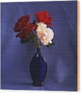 Still Life Red White And Blue Wood Print