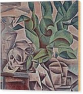 Still Life Showing Skull Wood Print by Kubista Bohumil