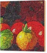 Still Life Tomatoes Fruits And Vegetables Wood Print