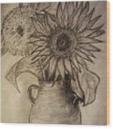 Still Life Two Sunflowers In A Clay Vase Wood Print