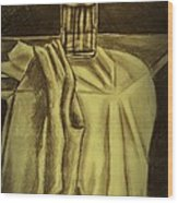 Still Life Vase And Fabric 3 Wood Print