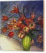 Still Life Vase With 21 Orange Tulips Wood Print