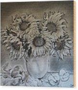 Still Life - Vase With 6 Sunflowers Wood Print