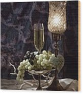 Still Life Wine With Grapes Wood Print by Tom Mc Nemar