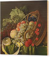 Still Life With A Basket Of Fruit Wood Print