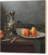 Still Life With A Jug And Roamer And Pears Wood Print
