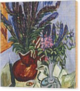 Still Life With A Vase Of Flowers Wood Print by Ernst Ludwig Kirchner