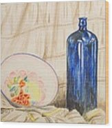 Still-life With Blue Bottle Wood Print