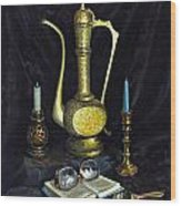 Still Life With Brass Vase And Book Wood Print