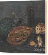 Still Life With Bread And Onions Wood Print