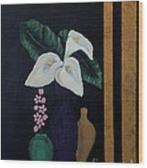 Still Life With Calla Lilies Wood Print
