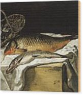 Still Life With Fish Wood Print by Frederic Bazille