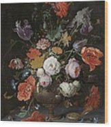 Still Life With Flowers And Watch Wood Print