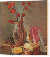 Still-life With Fresh Bread And A Knife Wood Print