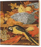 Still Life With Fruit And Macaws, 1622 Wood Print