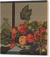 Still Life With Fruit And Wine Wood Print