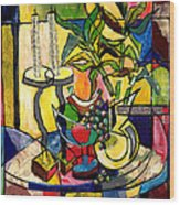 Still Life With Fruit Candles And Bamboo Wood Print