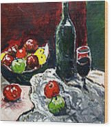 Still Life With Fruits And Wine Wood Print