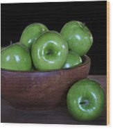 Still Life With Green Apples Wood Print