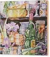 Still Life With Irises Wood Print