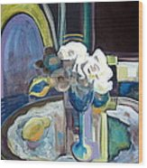 Still Life With Lemon And Two White Roses Wood Print by Therese AbouNader