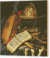 Still Life With Musical Instruments Oil On Canvas Wood Print