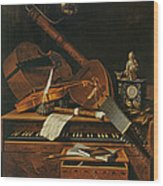 Still Life With Musical Instruments Wood Print