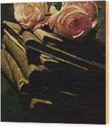 Still Life With Old Books And Two Pink Roses Wood Print