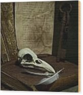 Still Life With Old Books Rusty Key Bird Skull And Feathers Wood Print
