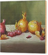 Still Life With Onions And Grapes Wood Print