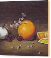 Still Life With Orange And Egg Wood Print