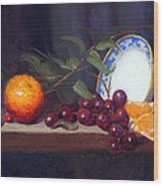 Still Life With Orange And Grapes Wood Print