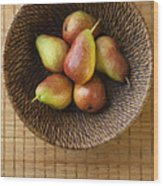 Still Life With Pears And A Rattan Bowl. Wood Print by Diane Diederich