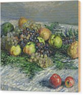 Still Life With Pears And Grapes Wood Print