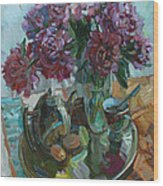 Still Life With Peonies Wood Print
