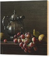 Still Life With Pewter Teapot And Grapes And Pears  Wood Print by Diana Amelina