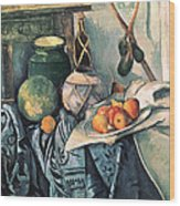 Still Life With Pitcher And Aubergines Oil On Canvas Wood Print