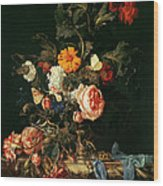 Still Life With Poppies And Roses Wood Print