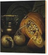 Still Life With Pumpkin And Onions Wood Print