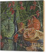 Still Life With Pumpkins And Winter Cherry Wood Print
