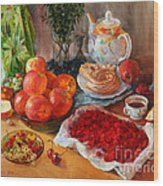 Still Life With Raspberries And Apples Wood Print