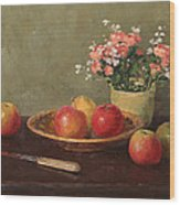 Still Life With Red Apples Wood Print