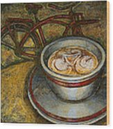 Still Life With Red Cruiser Bike Wood Print by Mark Jones