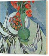Still Life With Seagulls Poppies And Strawberries Wood Print